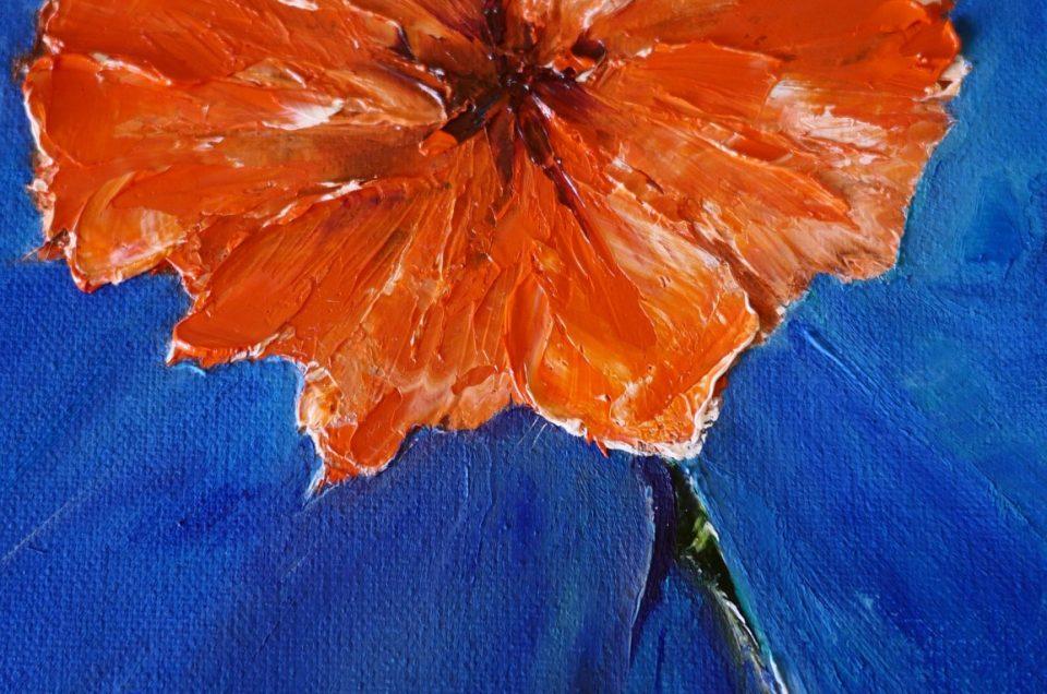 Orange Flower Painting For Sale