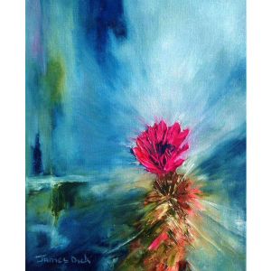 cactus flower oil painting